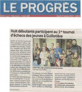 Le Progrès - Mardi 17 janvier 2017 - Huit débutants participent au 1er tournoi d'échecs des jeunes à Guillotière