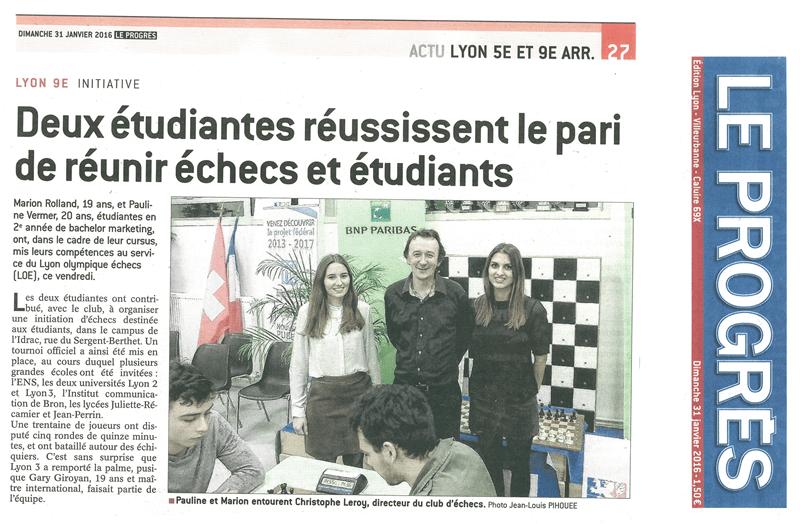 Le Progrès - Dimanche 31 janvier 2016 - Deux étudiantes réussissent le pari de réunir échecs et étudiants